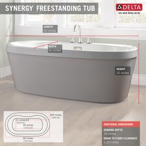 "High Gloss White 60"" x 32"" Freestanding Tub with Integrated Waste and Overflow Product Image"
