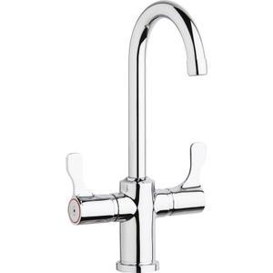 "Elkay Single Hole 12-1/2"" Deck Mount Faucet with Gooseneck Spout Twin Lever Handles Chrome Product Image"