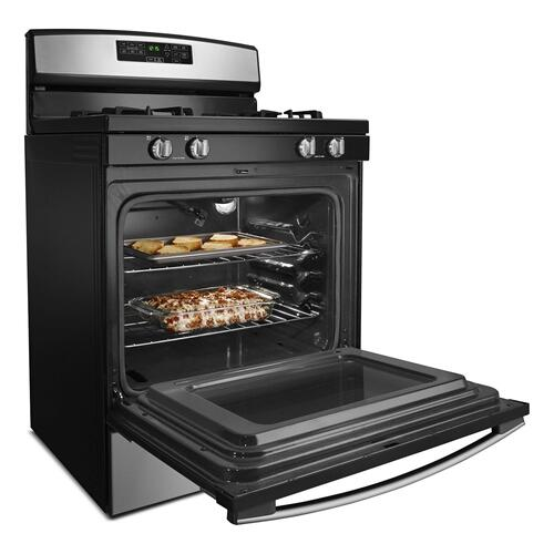 30-inch Gas Range with Self-Clean Option Black-on-Stainless