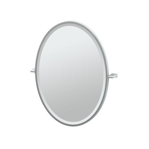 Bleu Framed Oval Mirror in Satin Nickel