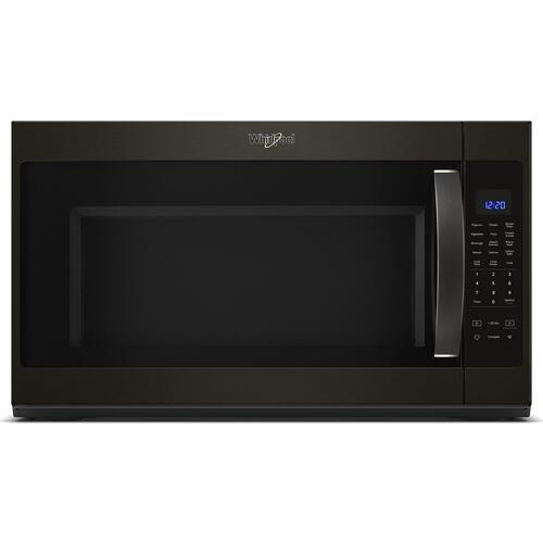 Whirlpool - 2.1 cu. ft. Over-the-Range Microwave with Steam cooking Fingerprint Resistant Black Stainless