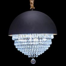 With Delicate Clear Crystals, LED Lighting and A Striking Iron Dome, This Chandelier Strings Luxurious and Industrial Details Together.