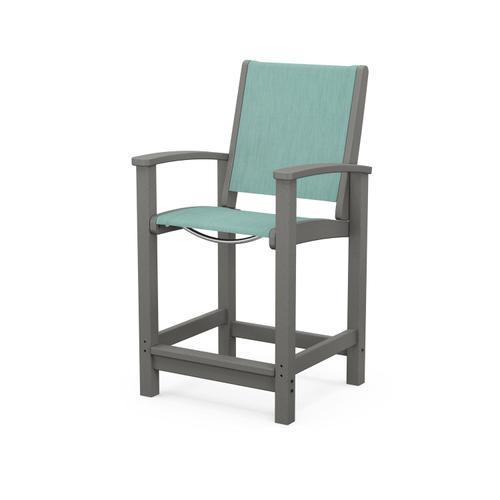 Coastal Counter Chair in Slate Grey / Aquamarine Sling