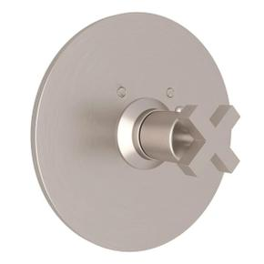 Lombardia Thermostatic Trim Plate without Volume Control - Satin Nickel with Cross Handle
