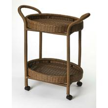 This rattan serving cart has a stylish and functional design that makes it a wonderful addition to any home. The perfect complement to your dining room, this serving cart is made from rattan featuring two woven baskets , this serving cart has a neat and attractive appearance that is perfect for blending in with both, modern and contemporary decor. It sports an oval shape, plastic casters and a simple design which makes it an excellent accessory when serving tea, drinks and snacks.
