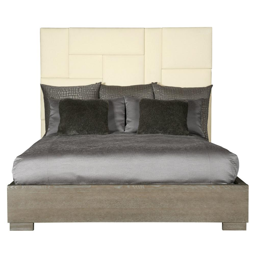 King Mosaic Upholstered Panel Bed
