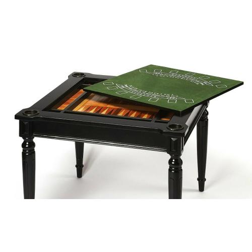 Butler Specialty Company - Play a variety of games on this stylish table that is veneered with basswood. The top inset has a game board for chess and checkers. Flip the inset over and it converts to a green felt-lined blackjack table. Remove the insert altogether and the well beneath the inset is a backgammon game board. Four glass holders on each corner. Chess and other game pieces shown are not included.