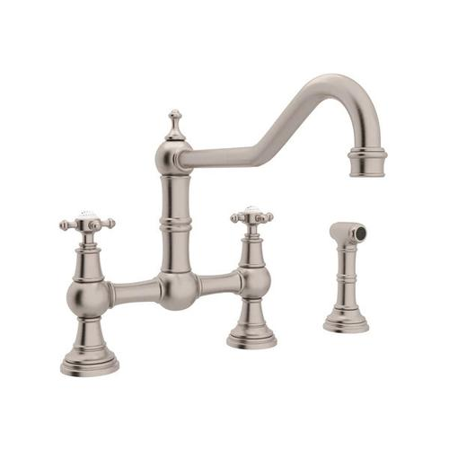 Edwardian Bridge Kitchen Faucet with Sidespray - Satin Nickel with Cross Handle