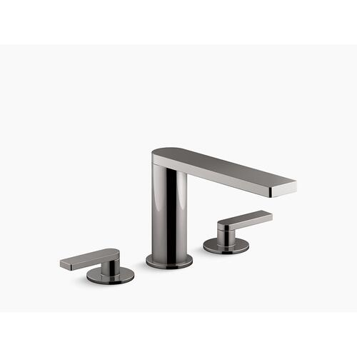 Vibrant Titanium Widespread Bathroom Sink Faucet With Lever Handles