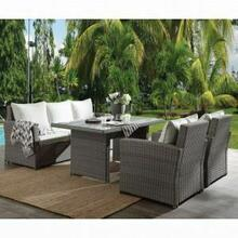 ACME Tahan 4Pc Patio Set - 45070 - Fabric & 2-Tone Gray Wicker