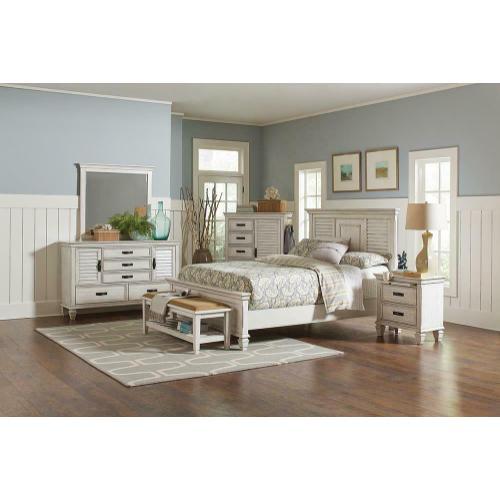 Franco Antique White Eastern King Bed