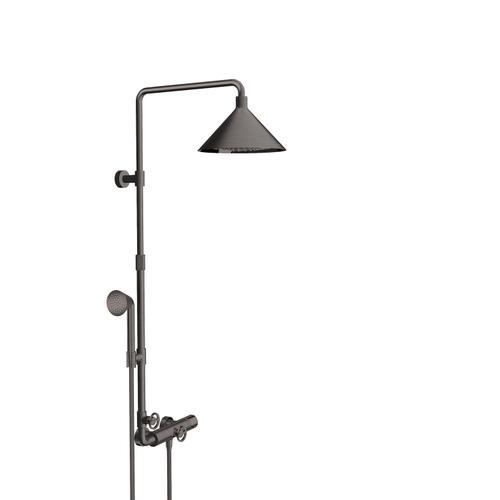 Brushed Black Chrome Showerpipe with thermostat and overhead shower 240 2jet
