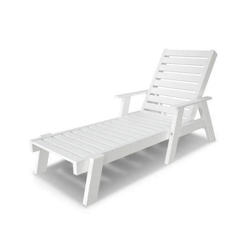 White Captain Chaise with Arms