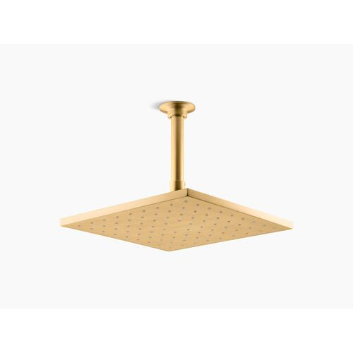 """Vibrant Brushed Moderne Brass 10"""" Contemporary Square 1.75 Gpm Rainhead With Katalyst Air-induction Technology"""