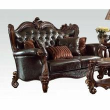 ACME Versailles Loveseat w/5 Pillows - 52121A - 2-Tone Dark Brown PU & Cherry Oak