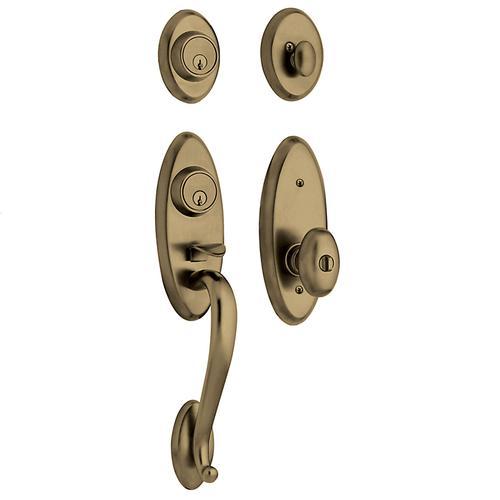 Baldwin - Satin Brass and Black Landon Two-Point Lock Handleset