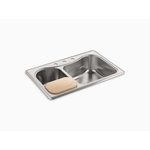 """33"""" X 22"""" X 8-5/16"""" Top-mount Large/medium Double-bowl Kitchen Sink With 4 Faucet Holes"""