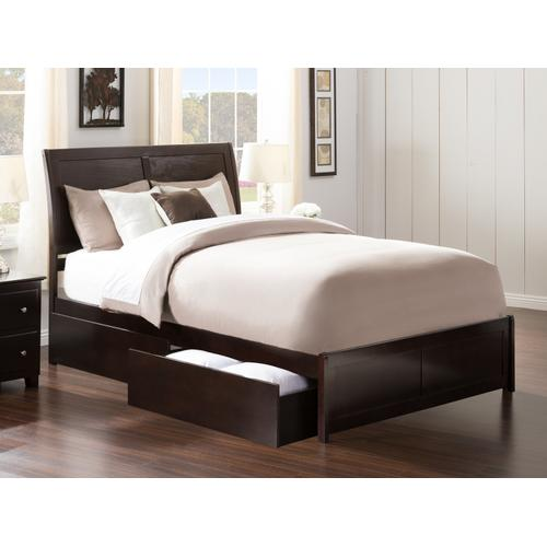Portland Queen Bed with Matching Foot Board with 2 Urban Bed Drawers in Espresso