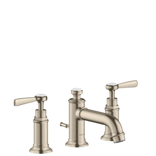 Brushed Nickel 3-hole basin mixer 30 with lever handles and pop-up waste set