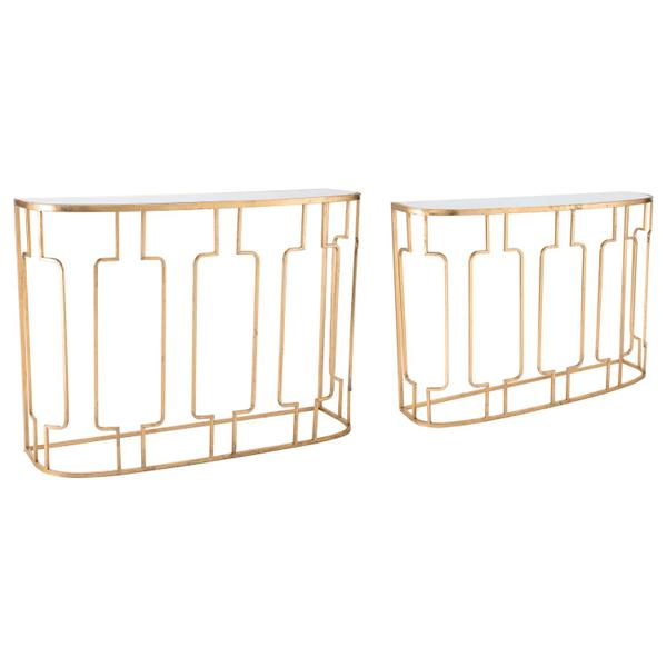See Details - Set Of 2 Roma Console Tables Gold