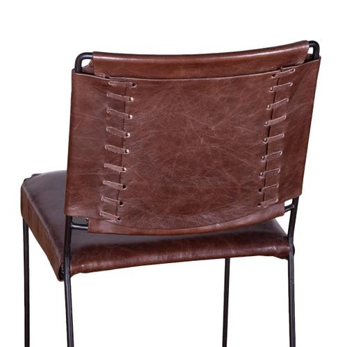 New York Iron and Chocolate Leather Dining Chair