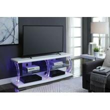 ACME Aileen TV Stand (LED), White & Clear Glass - 91558