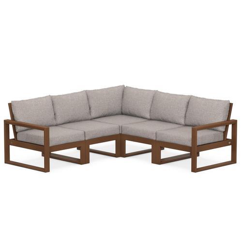Polywood Furnishings - EDGE 5-Piece Modular Deep Seating Set in Teak / Weathered Tweed