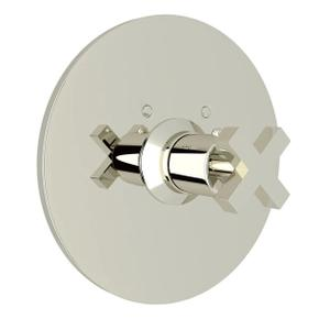 Lombardia Thermostatic Trim Plate without Volume Control - Polished Nickel with Cross Handle