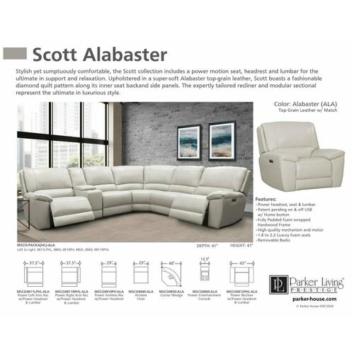 SCOTT - ALABASTER Power Left Arm Facing Recliner