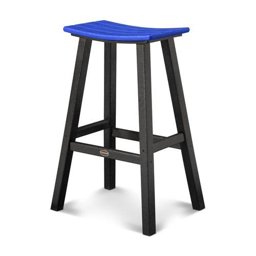 "Black & Pacific Blue Contempo 30"" Saddle Bar Stool"