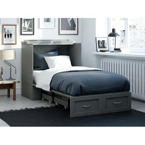 Atlantic Furniture - Hamilton Murphy Bed Chest Twin Extra Long Grey with Charging Station