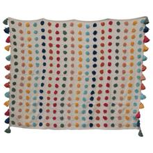 """Product Image - 60""""L x 50""""W Woven Cotton Throw w/ Tufted Dots & Tassels, Multi Color"""