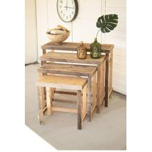 See Details - set of four rustic recycled wood console display tables