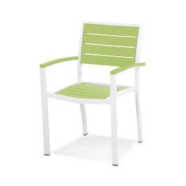 Polywood Furnishings - Eurou2122 Dining Arm Chair in Satin White / Lime