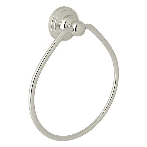 Polished Nickel Perrin & Rowe Edwardian Wall Mount Towel Ring