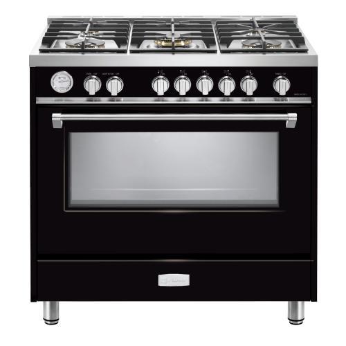 "Verona - Gloss Black 36"" Designer Gas Range"