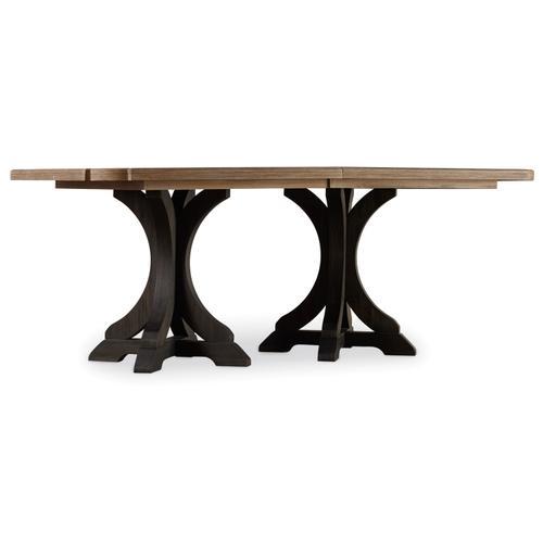 Hooker Furniture - Corsica Dark Rectangle Pedestal Dining Table (Dark Base/Light Top)
