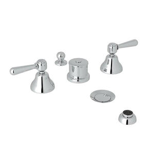 Verona Five Hole Bidet Faucet - Polished Chrome with Metal Lever Handle
