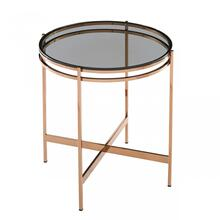 Modrest Bradford - Modern Smoked Glass & Rosegold End Table