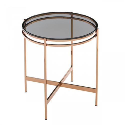 VIG Furniture - Modrest Bradford - Modern Smoked Glass & Rosegold End Table