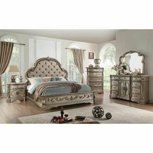 ACME Northville Queen Bed - 26930Q - PU & Antique Silver