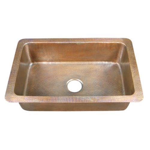 "Rhodes 32"" Single Bowl Copper Drop-In Kitchen Sink"