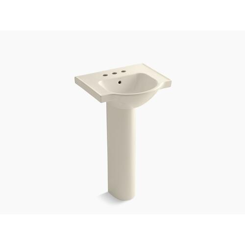 "Almond 21"" Pedestal Bathroom Sink With 4"" Centerset Faucet Holes"
