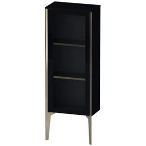 Semi-tall Cabinet With Mirror Door Floorstanding, Black High Gloss (lacquer)