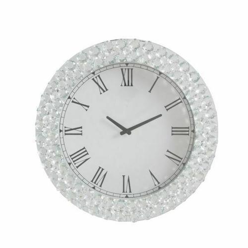 ACME Nysa Wall Clock - 97045 - Mirrored & Faux Crystals
