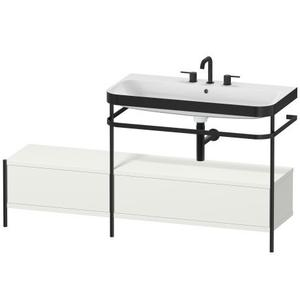 Furniture Washbasin C-bonded With Metal Console Floorstanding, Nordic White Satin Matte (lacquer)