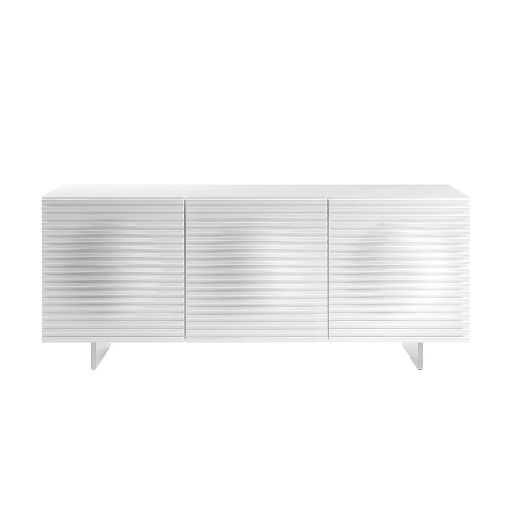 The Moon Buffet-server In High Gloss White Lacquer With Brushed Stainless Steel
