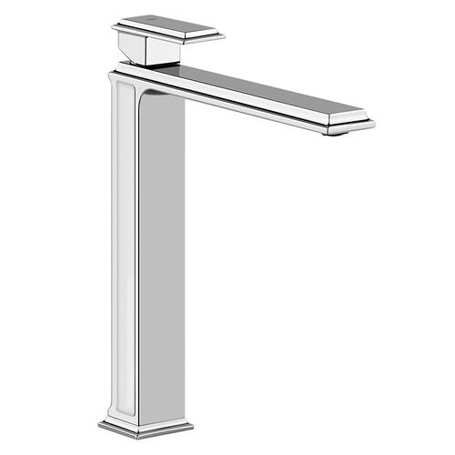 """Tall single lever washbasin mixer without pop-up assembly Spout projection 8-1/2"""" Height 11-3/4"""" Drain not included - See DRA INS section Max flow rate 1"""