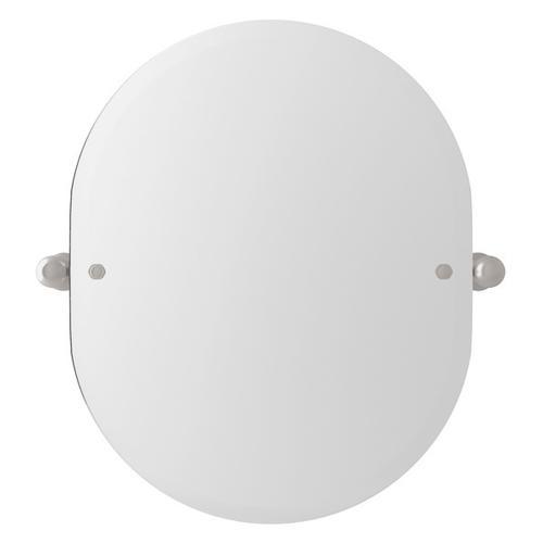 "Satin Nickel Perrin & Rowe Wall Mount 24 7/16"" Oval Mirror"