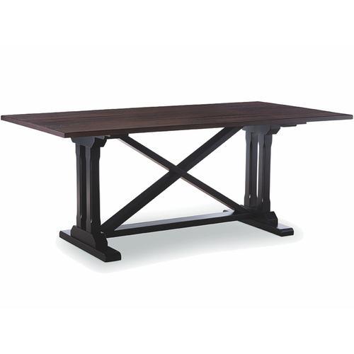 John Thomas Furniture - 38 X 76 Oak Top Truffle with Black Trestle Base
